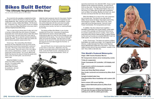 East Coast Biker Magazine Article