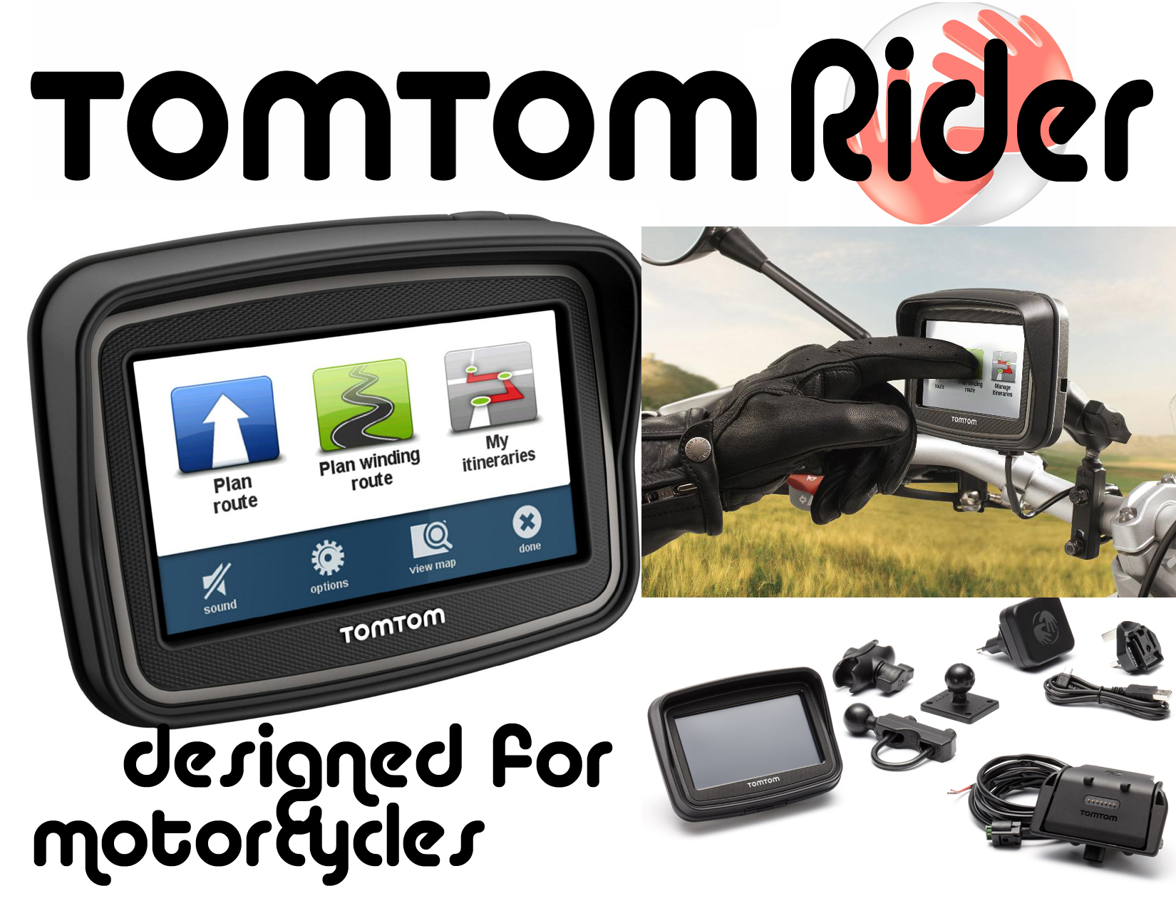 tomtom rider motorcycle gps kit motorcycle product reviews news events tech. Black Bedroom Furniture Sets. Home Design Ideas