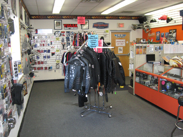 Motorcycle parts accessories showroom.